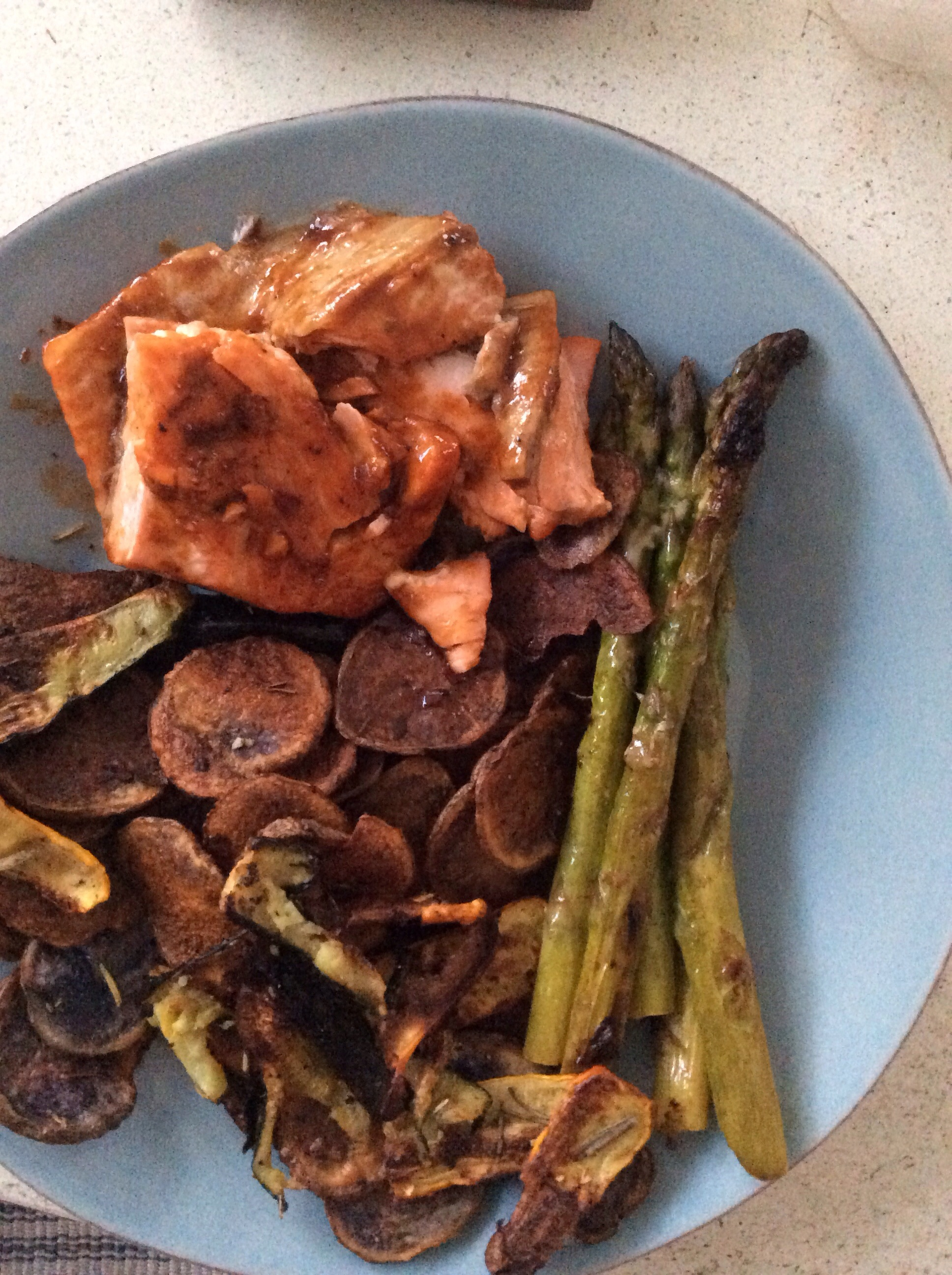 BBQ salmon with asparagus, zucchini, squash and purple potatoes